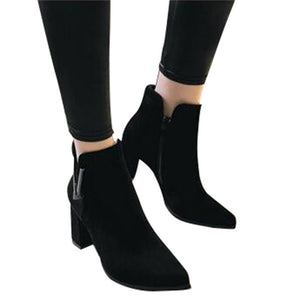 HEE GRAND  Metal Decoration Women Fashion Boots Thick High Heel Autumn and Winter Shoes with Zip Ankle Boots XWX6377