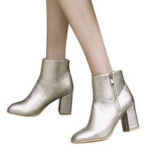HEE GRAND Winter Warm Sexy Ankle Boots Women Square Toe Shoes zip on Solid PU Silver Gold Ankle Boots Shoes Size 35-43 XWX6401