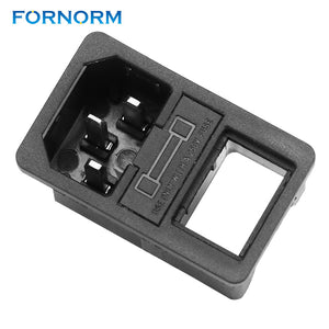 FORNORM Power Rocker Switch Fused IEC 320 C14 Inlet Power Socket 10A Fuse AC01 Switch Connector Plug 250V