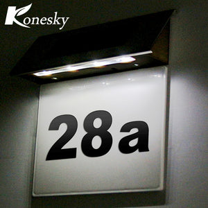 Led Sensor Solar Light Stainless Steel Solar Powered 4 LED Illumination Doorplate Lamp House Number Outdoor Lighting
