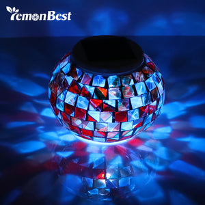 Waterproof IP65 LED Solar Light Mosaic Glass Ball Light Solar Power Outdoor Garden Light Pathway Wall Lamp Christmas Party Decor