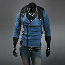 Fashion Spring Autumn Fur Collar Oblique Zipper Slim Fit Men's Fleece Hoodie Jacket Sweatshirt