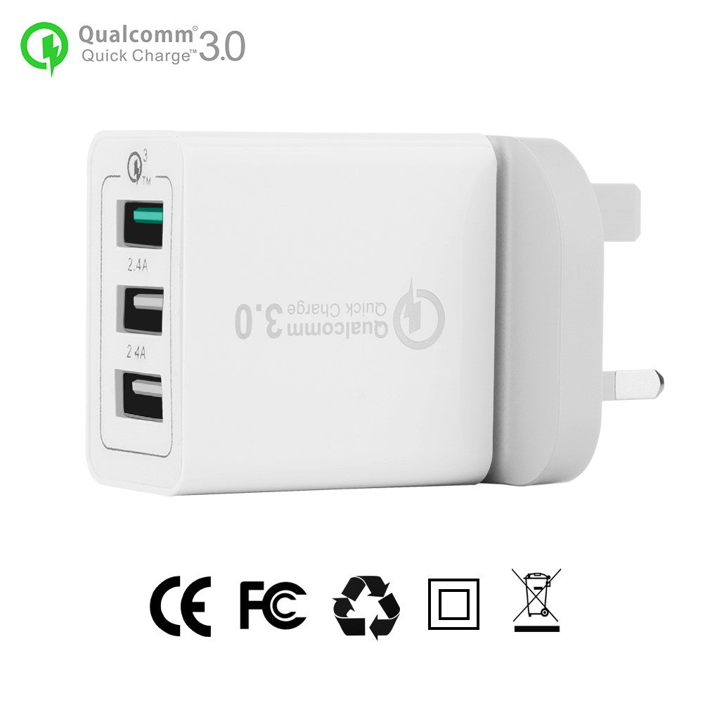 3-Ports QC3.0 USB Wall Charger Travel Adapter Qualcomm 3.0 Quick Charger Support Smart Fast Charge for Samsung Galaxy S6 HTC M9 Nexus 6 LG G4