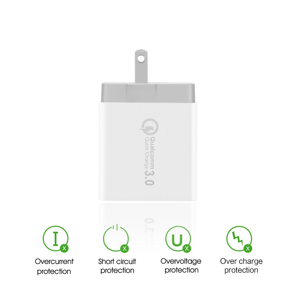 3-Ports QC3 0 USB Wall Charger Travel Adapter Qualcomm 3 0 Quick Charger  Support Smart Fast Charge for Samsung Galaxy S6 HTC M9 Nexus 6 LG G4