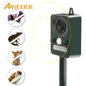 ABEDOE Effective Solar Powered Ultrasonic Oudoor Pest Animal Repeller Motion Activated Repellent Pest Animal Control Rodent