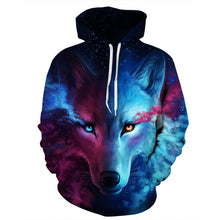 Unisex Couples Lovers 3D Sky Wolf Print Loose Hoodies Blouse Tops Shirt