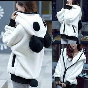 Cute Bear Ear Panda Winter Warm Hoodie Coat Women Hooded Jacket Outerwear