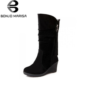 BONJOMARISA Big Size 34-43 Quality Hot Fall Winter Shoes Women Mid Calf Wedge Shoe Woman Slip-On Pleated Riding Boots