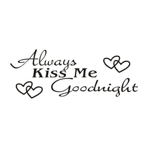 Valentine's Day Always-Kiss-Me Wall Stickers 66x25cm Goodnight Wall Art Decals for Bedroom Living Room