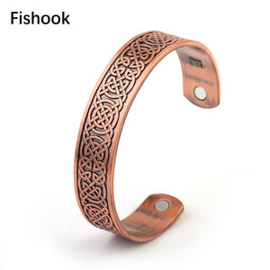 Fishhook Copper Viking Bangles Magnet Cuff Bracelets with Effective of Stimulate Blood Therapy Carpal Tunnel Pain Jewelry