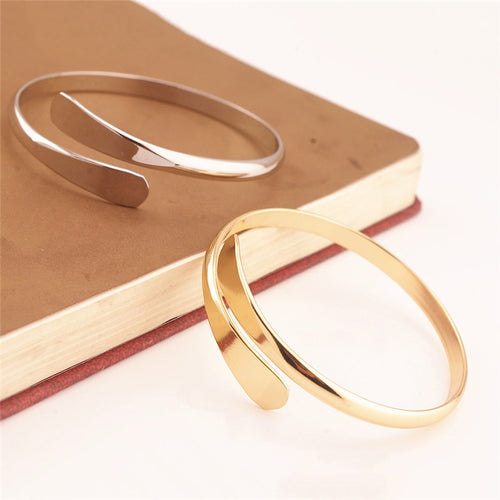 Simple Pure Copper Jewelry Open Bangles & Bracelets Punk Silver Gold Color Wristband Cuff Bracelet for Women Pulseiras Z3
