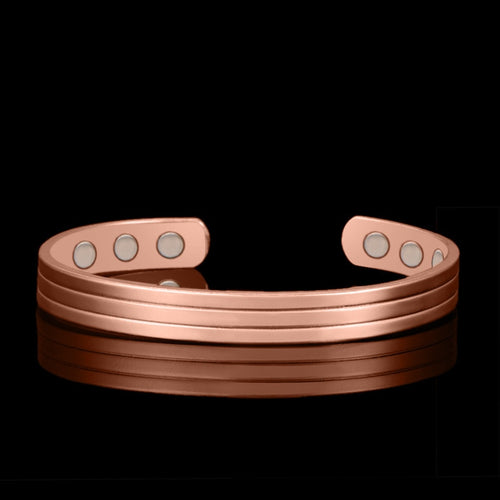 OCTBYNA Simple Rose Gold Color 6 Magnetic Pure Copper Health Bangle & Bracelet Healing Bio Therapy Arthritis Pain Relief Jewelry