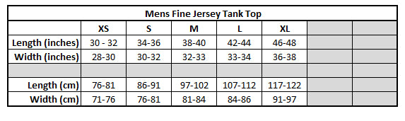 Mens Tank Top Sizing chart KarmaCraze