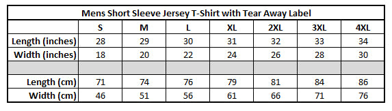 Mens Tshirt 1-Bella + Canvas 3001 Unisex Short Sleeve Jersey T-Shirt with Tear Away Label Size Chart