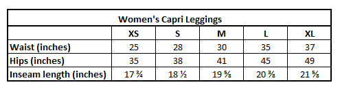 KarmaShine-Capri Leggings Size Chart
