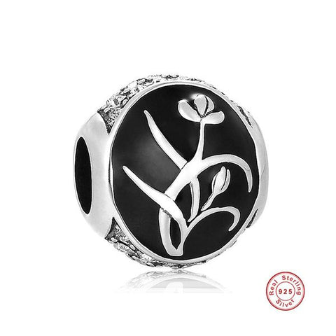 KarmaShine- Bracelet Bead-Lotus Flower-925 Sterling Silver-Black Enamel