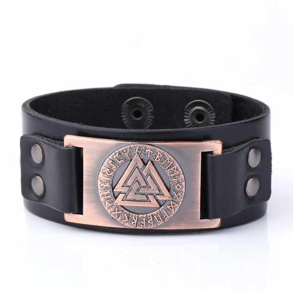 KarmaShine- Bracelet-Valknut-Wristband Cuff Leather
