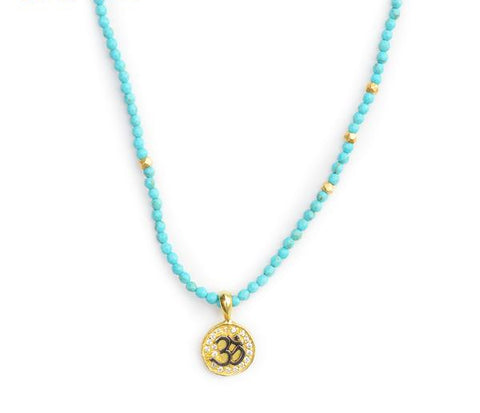 KarmaShine- Necklace-Om-Turquoise beads-Silver with Cubic Zirconia Inlay