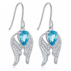 KarmaShine- Earrings-Isis Goddess-2.2ct Sky Blue Topaz-925 Sterling Silver