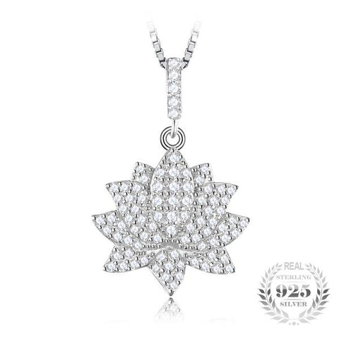 KarmaShine-Necklace-Lotus Flower-1.5ct Cubic Zirconia-925 Sterling Silver-No Chain
