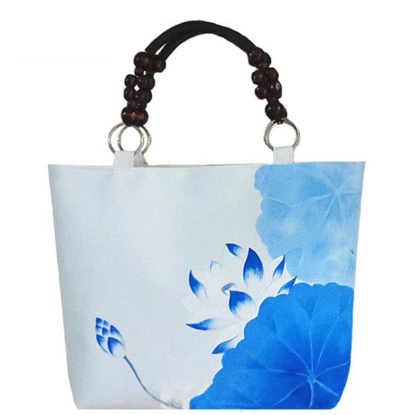 KarmaShine- Handbag-Lotus Flower-Beaded Top-handle-Casual Canvas Tote Bag-Hand Painted