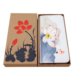KarmaShine- Wallet-Lotus Flower-Hand Painted-Cotton