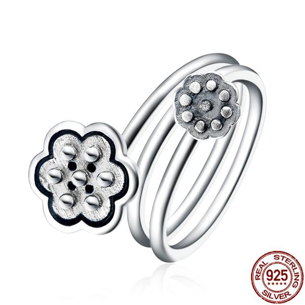 KarmaShine- Ring-Lotus Flower-925 Sterling Silver-Open Finger