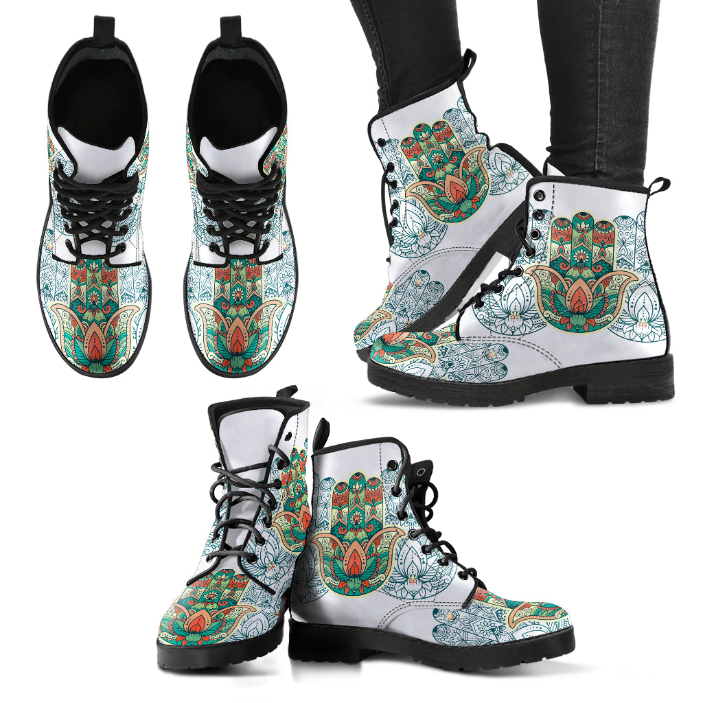 KarmaKickz-Women's Leather Boots-Hamsa-Tracker Series
