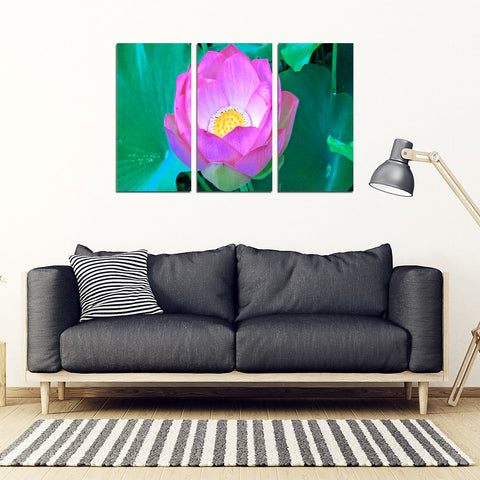 KarmaStuff- Lotus Flower-3 Piece Canvas Wall Art
