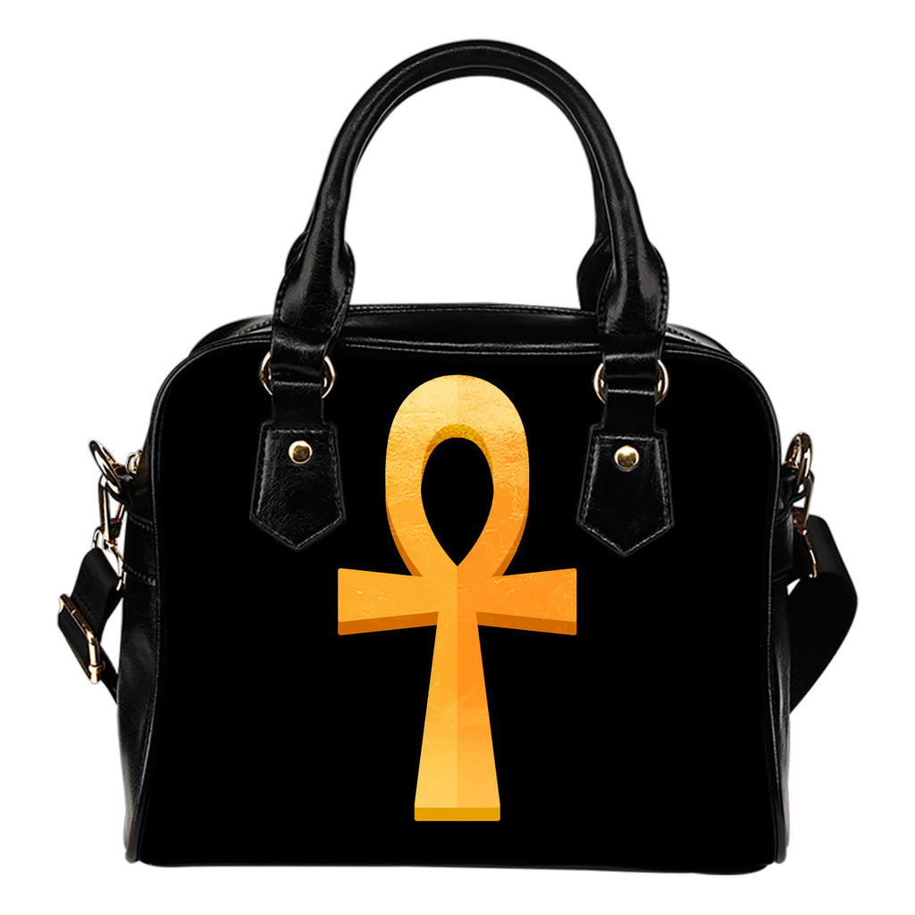 KarmaShine-Shoulder Handbag-Ankh-Water Resistant Leather