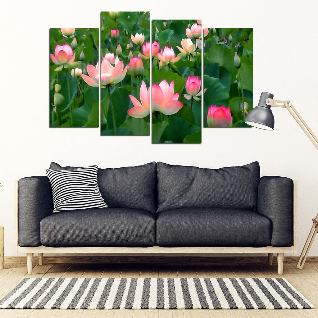 KarmaStuff- Lotus Flower-4 Piece Canvas Wall Art