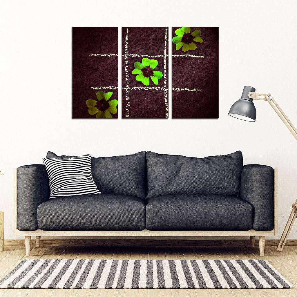 KarmaStuff- Lucky Clover-3 Piece Canvas Wall Art