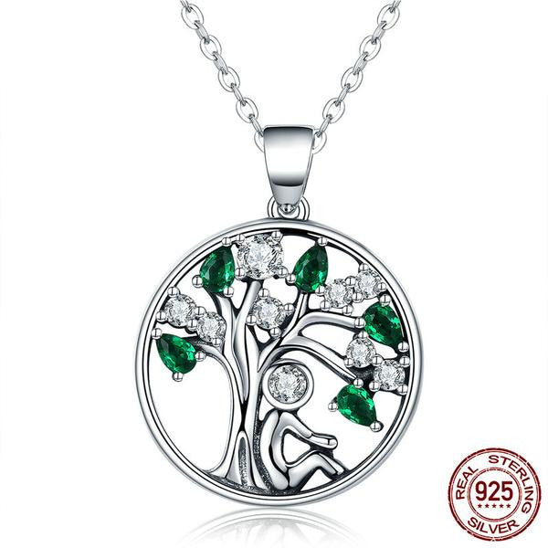 Necklace-Tree of Life-925 Sterling Silver-Cubic Zirconia - KarmaCraze