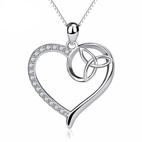 Necklace-Triquetra-Sterling Silver-Silver Box Chain-Cubic Zirconia - KarmaCraze