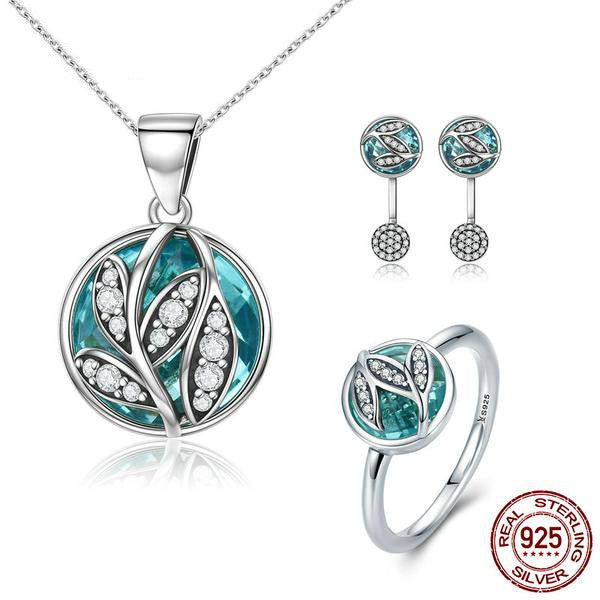 Necklace, Earrings & Bracelet-Tree of Life-925 Sterling Silver-Cubic Zirconia - KarmaCraze
