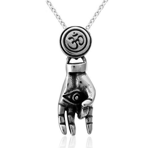 Necklace-OM-Hamsa-Stainless Steel-Link Chain - KarmaCraze