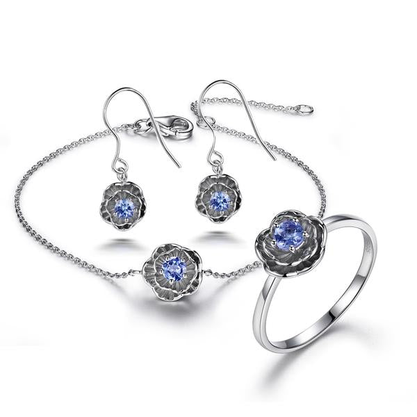 Necklace Earrings Bracelet-Lotus Flower-925 Sterling Silver-0.2ct Natural Tanzanite-5 Ring Sizes - KarmaCraze
