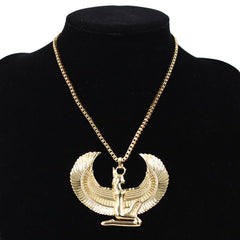 Necklace-Isis Goddess-Gold Color-Long Chain - KarmaCraze