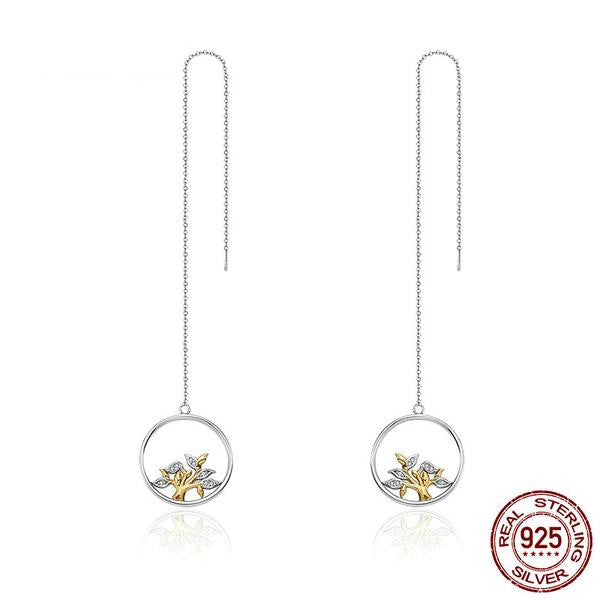 Earrings-Tree of Life-925 Sterling Silver-Cubic Zirconia-Drop Earrings - KarmaCraze