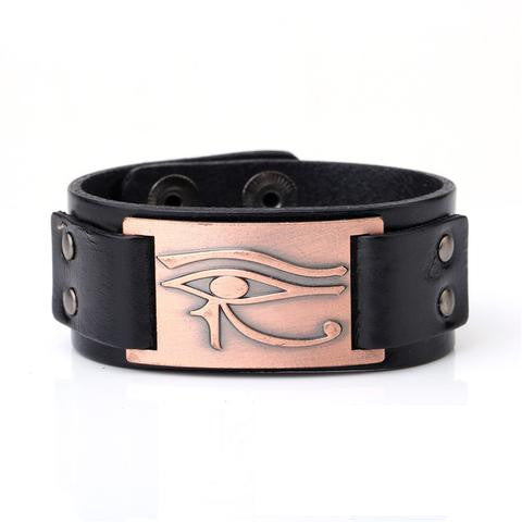 Bracelet-Eye of Horus-Antique Copper Color-Wide Cuff Wristband-Genuine Leather - KarmaCraze