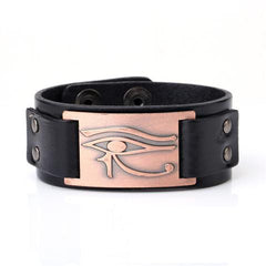 KarmaShine- Bracelet-Eye of Horus-Antique Copper Color-Wide Cuff Wristband-Genuine Leather