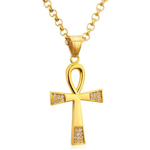 Necklace-Ankh-Stainless Steel-Gold Color - KarmaCraze