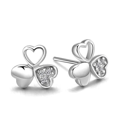 Earrings-Lucky Clover-925 Sterling Silver-AAA CZ - KarmaCraze
