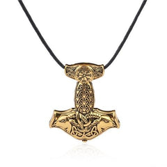 KarmaShine- Necklace-Vegvisir-Thor's Hammer-Zinc Alloy-Antique Silver or Gold-Rope Chain