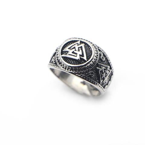 Ring-Valknut-Zinc Alloy-Silver Color-Size 10 - Mens Accessories Mens Jewelry - KarmaCraze