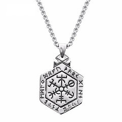 Necklace-Vegvisir-Stainless Steel-Silver Color-Link Chain - KarmaCraze