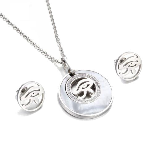 Necklace & Earrings-Eye of Horus-Stainless Steel - KarmaCraze