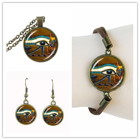 Necklace, Earrings & Bracelet-Eye of Horus-Glass Dome - KarmaCraze