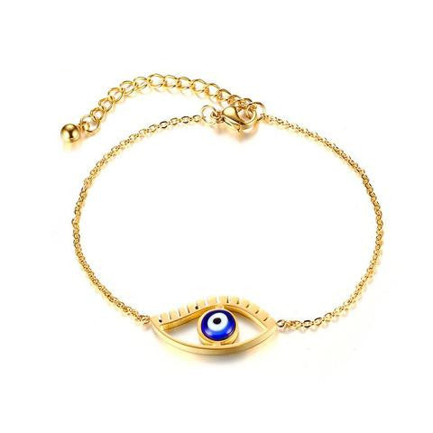 Bracelet-Eye of Horus-Stainless Steel-Gold Color - KarmaCraze