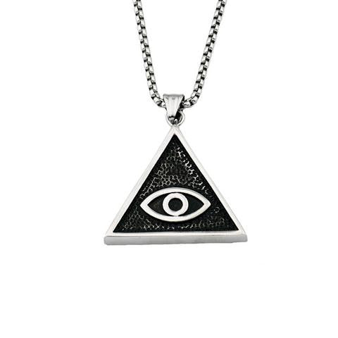 Necklace-Eye of Horus-Stainless Steel-Silver Color - KarmaCraze